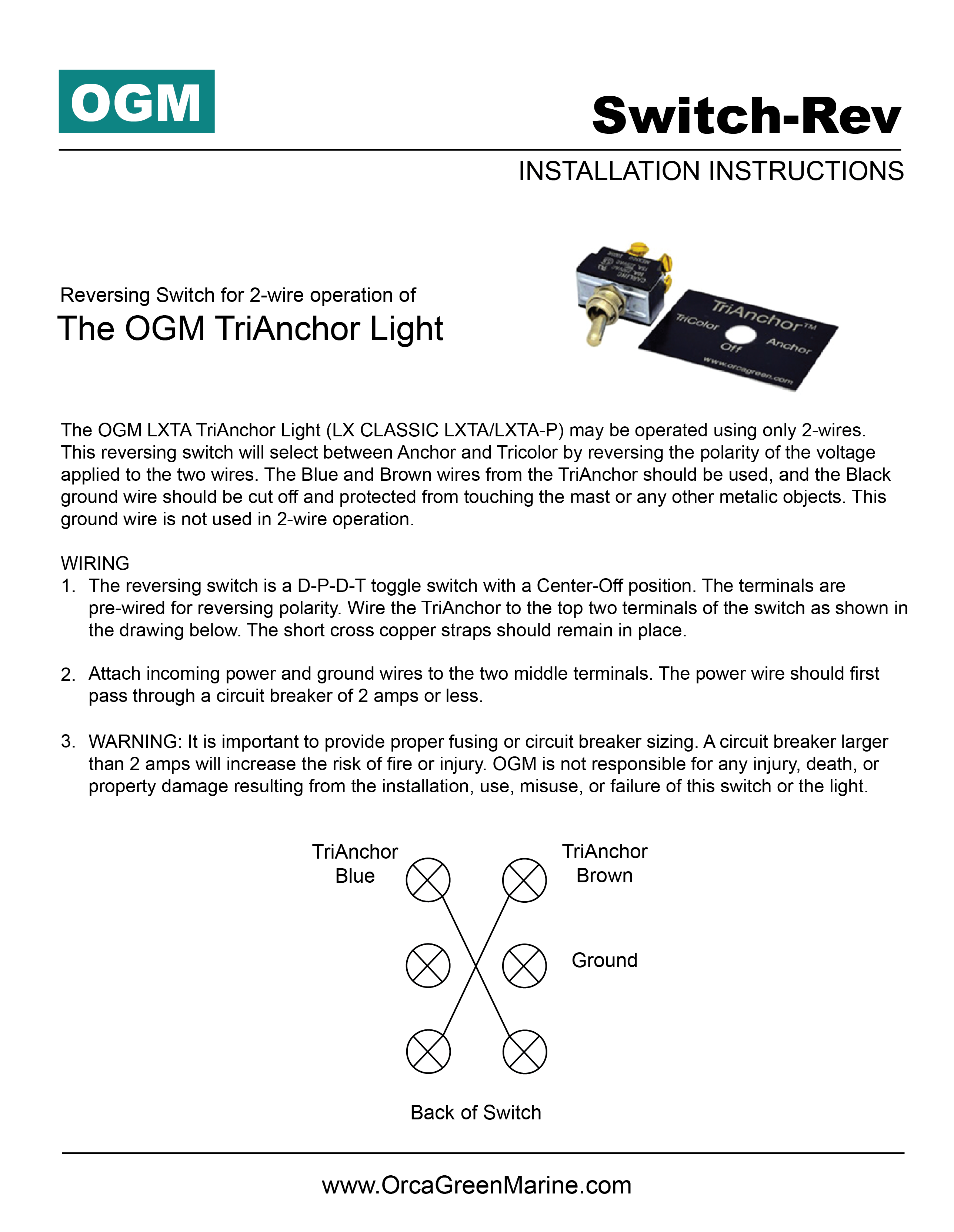 Installation Instructions Orca Green Marine Ogm Led Lighting Light Switch Wiring On A First Lx2 Series Running Lights Guide Pdf